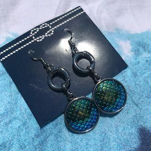 Two pair mermaid skin earrings iridescent & green
